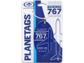 PlaneTags - přívěsek ze skutečného letadla Boeing 767, ANA All Nippon Airways, registrace JA8568