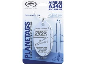 PlaneTags - přívěsek ze skutečného letadla Airbus A340-300, China Airlines, registrace B-18801