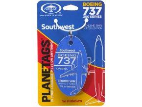 PlaneTags - přívěsek ze skutečného letadla Boeing 737-300, Southwest Airlines, registrace N665WN