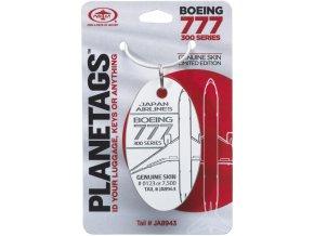 PlaneTags - přívěsek ze skutečného letadla Boeing 777-346, Japan Airlines, registrace JA8943