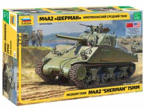 Zvezda - M4A2 Sherman, Model Kit 3702, 1/35