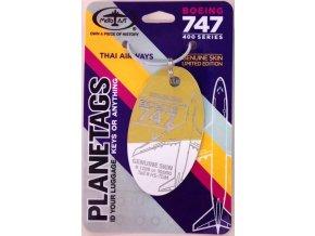 PlaneTags - přívěsek ze skutečného letadla Boeing 747, zlatá/bílá, Thai Airways, registrace HS-TGM