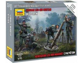 Zvezda - německý minomet 120 mm s posádkou / Granatwerfer 42 (12cm GrW 42), Wargames (WWII) 6268, 1/72