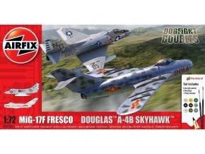 Airfix - set letounů Mikojan-Gurevič Mig-17F Fresco, Douglas A-4B Skyhawk, Dogfight Double, Gift Set A50185, 1/72