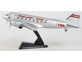 Postage Stamp Collection - Douglas DC-3, TWA Trans World Airlines 'Victory is in the air - Buy bonds' NC1945, USA, 1/144