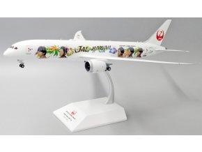 "JC Wings - Boeing 787-9 Dreamliner, dopravce Japan Airlines ""Arashi JAL-Hawaii Livery"" JA873J With Stand, Japonsko, 1/200"