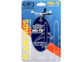 PlaneTags - přívěsek ze skutečného letadla McDonnell Douglas MD11F, společnost Aeroflot, registrace VP-BDR