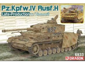 Dragon - Pz.Kpfw.IV Ausf.H Late Production w/Zimmerit (2in1), Model Kit 6933, 1/35
