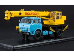 Start Scale Models - Autojeřáb KS-3571 - MAZ-500A (modro-žlutá), 1/43