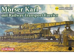 Dragon - samohybná houfnice Karl-Gerät 600 mm s vagónovým přepravníkem, Model Kit 14132, 1/144