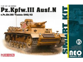 Dragon -  Pz.Kpfw.III Ausf.N s.Pz.Abt.501 Tunisia 1942/43 (Neo Smart Kit), Model Kit 6956, 1/35