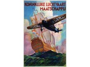 """Plechová cedule """"KLM, de Vliegende Hollander"""", 30 x 20 cm"""
