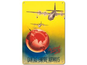 Plechová cedule Fly British across the World - London to Sydney - Qantas Empire Airways, 30 x 20 cm