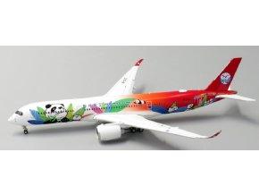 "JC Wings - Airbus A350-900, dopravce Sichuan Airlines ""Panda Livery"" B-301D, klapky dole, (verze s anténou), Čína , 1/400"