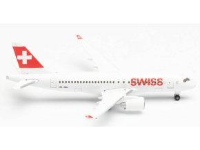 "Herpa - Bombardier CS100 (BD-500-1A10), Swiss International Air Lines ""2010s"" Colors, Named ""Ascona"", Švýcarsko, 1/500"