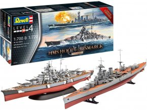 Revell - Battle Set HMS HOOD vs. BISMARCK - 80th Anniversary, Plastic ModelKit Limited Edition 05174, 1/700