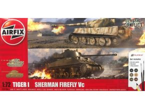 Airfix - Classic Conflict Tiger 1 vs Sherman Firefly, Gift Set tanky A50186,  1/72