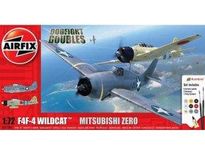 Airfix - Grumman F-4F4 Wildcat & Mitsubishi Zero Dogfight Double, Gift Set  A50184, 1/72