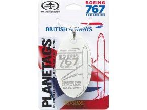 MotoArt Plane Tags - přívěsek ze skutečného letadla Boeing 767 British Aiways, registrace G-BNWH (bílá)
