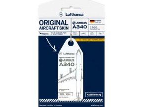 AviationTag - přívěsek ze skutečného letadla Airbus A340-600, Lufthansa,  registrace D-AIHR