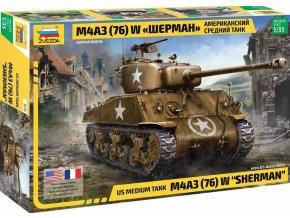 Zvezda - M4 A3 (76mm) Sherman Tank, Model Kit 3676, 1/35