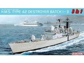 Dragon - H.M.S. Type 42 Destroyer Batch 1 ~ 3 (3in1), Model Kit 7152, 1/700