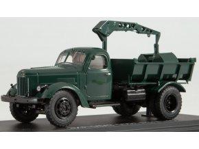 Start Scale Models - ZIL-MMZ-585L, sklápěč s hydraulickým jeřábem LZAP-40, tmavě zelená, 1/43