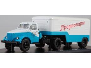 Start Scale Models - GAZ-51P s návěsem PAZ-744, bíla-modrá, 1/43