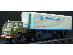 """Start Scale Models - MAZ-504, nákladní tahač (khaki) s přívěsem Alka N12CH, """"Sovtransavto"""", 1/43"""