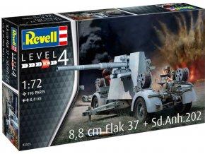 Revell - 8,8 cm Flak 37 + Sd.Anh.202, Plastic ModelKit 03325, 1/72