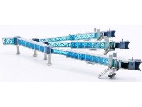 JC Wings - nástupní most pro cestující, tříramenný set A380, modrá, 1/400