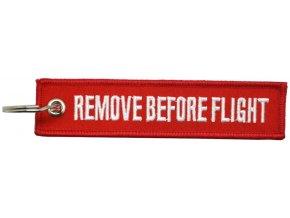 MegaKey - přívěsek REMOVE BEFORE FLIGHT - oboustranný, vyšívaný, 13 x 3 cm