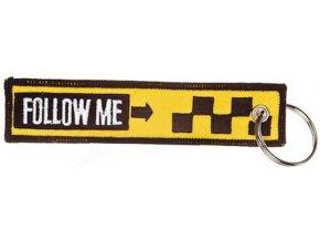 """MegaKey - přívěsek """"Follow me"""" - oboustranný, vyšívaný, 13 x 3 cm"""