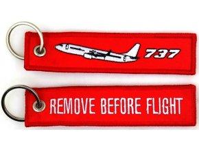 MegaKey - přívěsek REMOVE BEFORE FLIGHT / Boeing 737 - oboustranný, vyšívaný, 13 x 3 cm