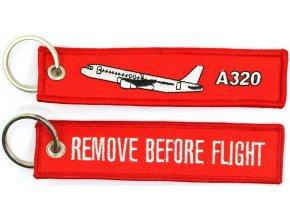 MegaKey - přívěsek REMOVE BEFORE FLIGHT /  Airbus A320 - oboustranný, vyšívaný, 13 x 3 cm