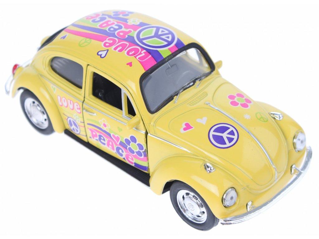 welly schaalmodel volkswagen beetle flowerpower peace geel 180635