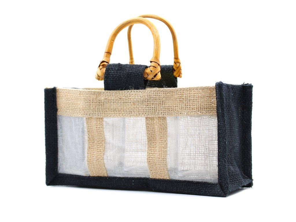 Darčeková taška z juty a bavlny čierna