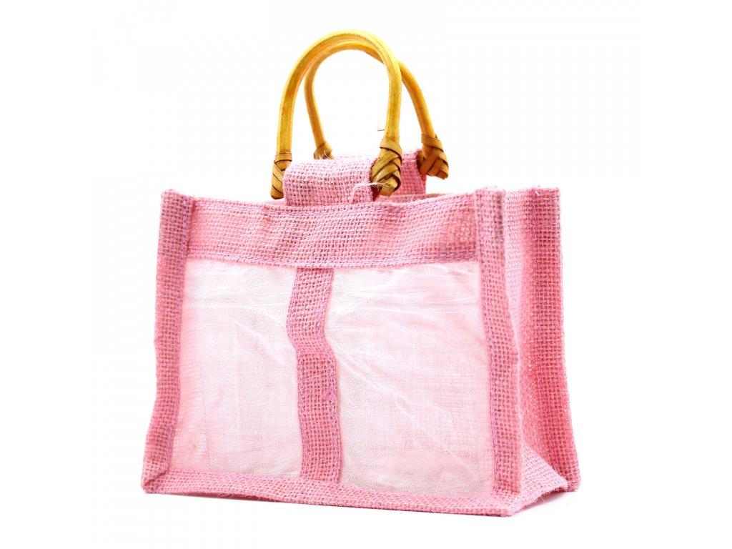 Darčeková taška z juty a bavlny ružová