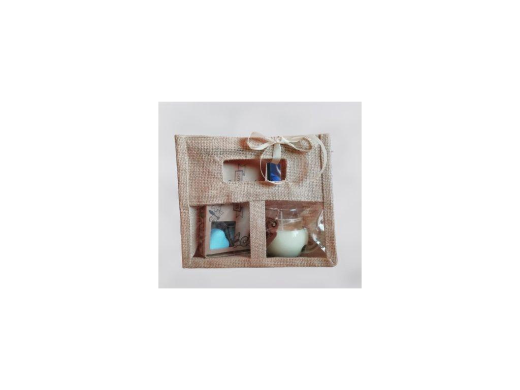 Darčeková taška z juty 2 okienka veľká Natural