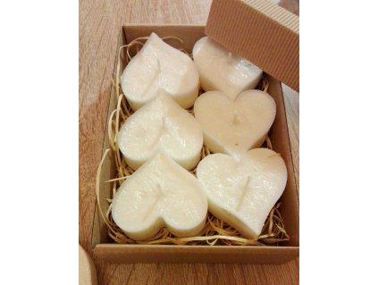 Bezobalové čajové sviečky srdce