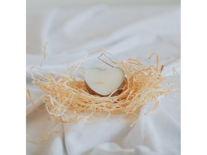 Čajová sójová sviečka srdce 1ks VONIA