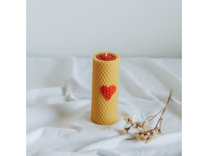 Vosková sviečka žlto červená 12x4,5cm www.Vonia.sk