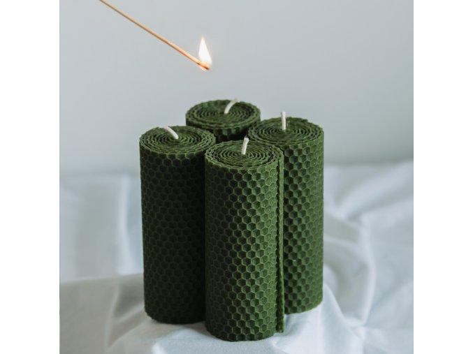 Adventné sviečky zelené 120x45mm, 4ks www.Vonia.sk