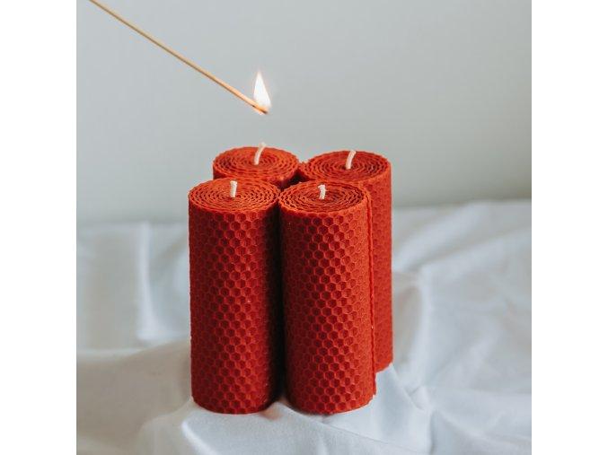 Adventné sviečky červené 120x45mm, 4ks www.Vonia.sk