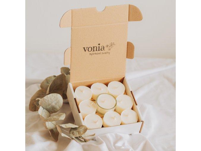 Čajové sójové sviečky zerowaste 9 ks + svietnik www.Vonia.sk