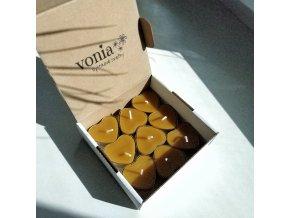 Čajové včelie sviečky srdiečko 9 ks