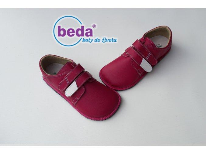 Beda Barefoot kožené nízké červené - dětská celoroční obuv
