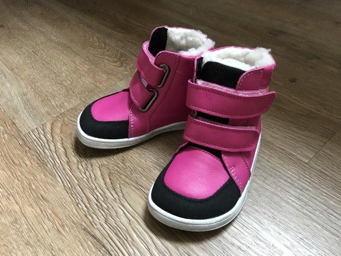 Baby Bare Shoes Febo Fuchsia s okopem - dětská zimní obuv