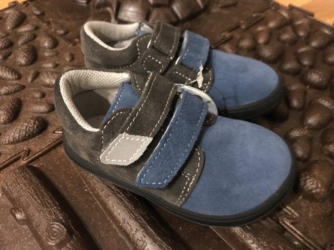 Jonap Barefoot model B1/SV (suchý zip, modrošedé) - dětská celoroční obuv