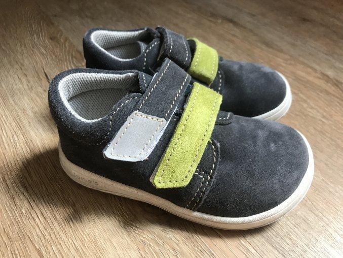 Jonap Barefoot model B1/SV SLIM (suchý zip, šedozelené) - dětská celoroční obuv